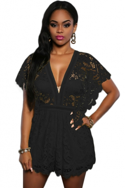 Black Lace Sheer Top Romper
