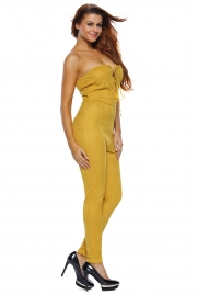 Yellow Deep V Lace-up Faux Suede Strapless Jumpsuit