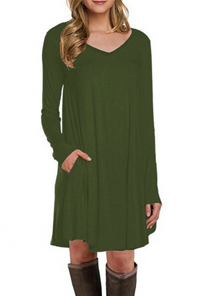 Green Long Sleeve Pocket Casual Loose T-shirt Dress