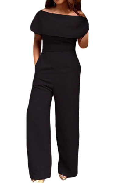 Black Cape Off Shoulder Pocket Wide Leg Jumpsuit ZEKELA.com