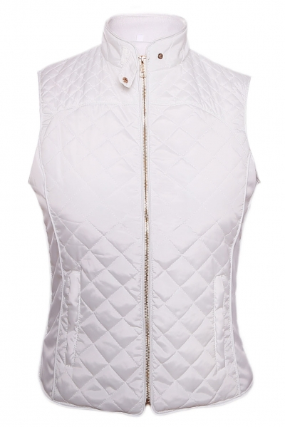 White High Neck Diamond Cotton Quilted Vest Coat