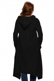 Black Plain Drawstring Irregular Oversize Hoodie