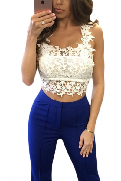 White Lacy Trimmed Crop Top ZEKELA.com