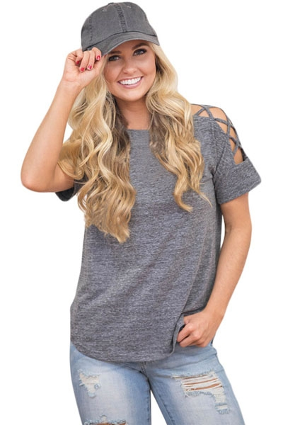 Grey Crisscross Detail Short Sleeve T-shirt