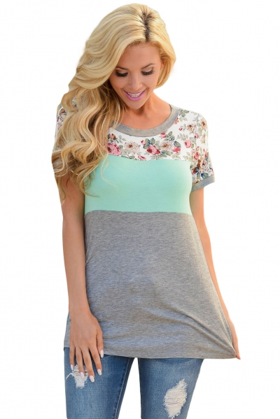 Floral Print Mint Gray Colorblock T-shirt