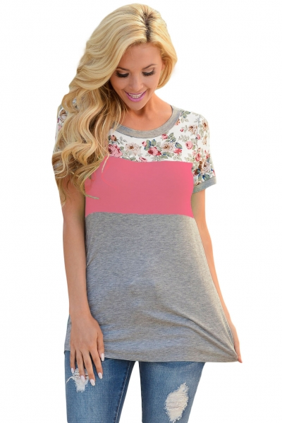 Floral Print Pink Gray Colorblock T-shirt