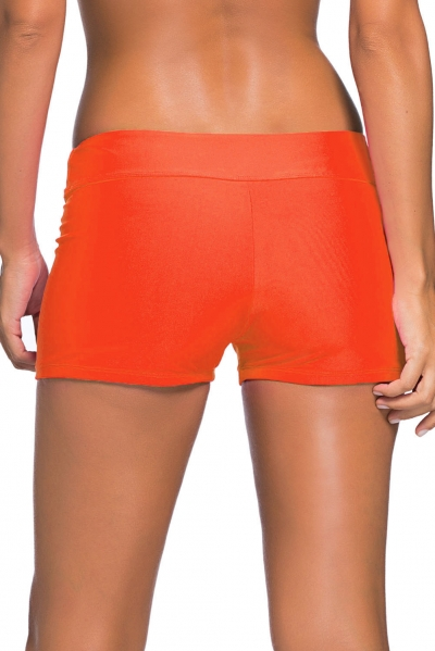 Orange Wide Waistband Swimsuit Bottom Shorts zekela.com