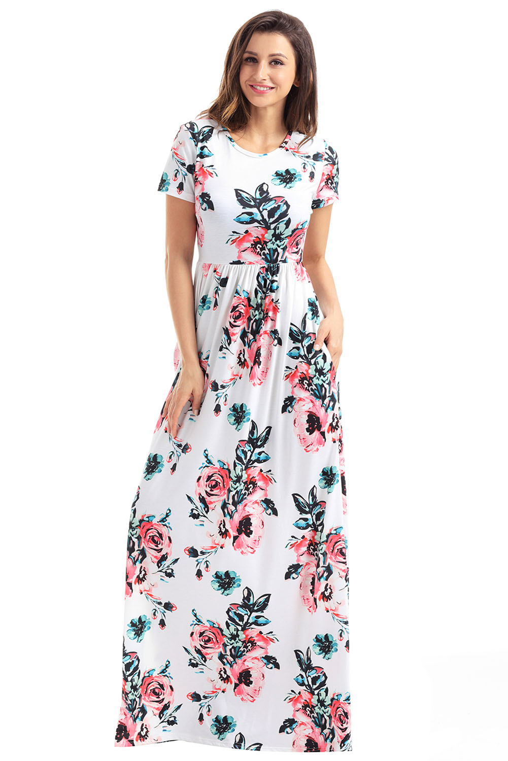 8a619d693eb Pocket Design Short Sleeve White Floral Maxi Dress ZEKELA.com. Loading zoom