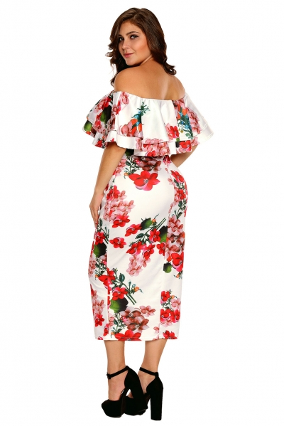 e7aed53cb98 Floral Layered Ruffle Off Shoulder Curvaceous Dress - ZEKELA.com