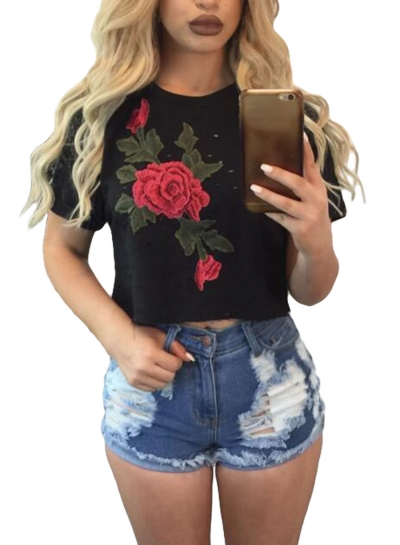 Black Embroidered Flower Broken Hole Crop Top ZEKELA.com