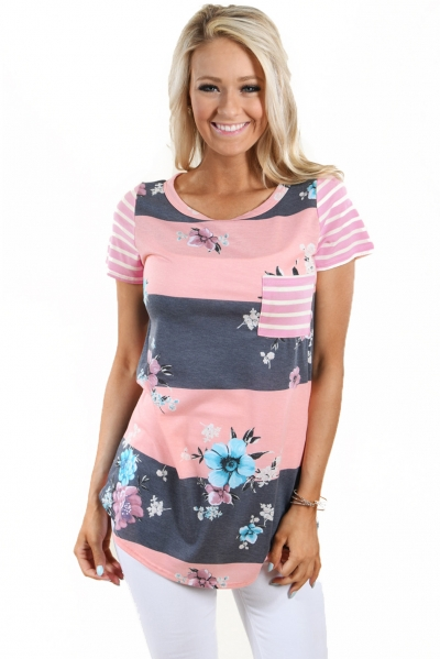 Coral Grey Colorblock Floral Striped Casual T-shirt