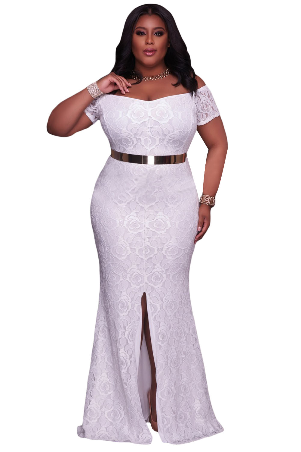 White Plus Size Off Shoulder Lace Gown - ZEKELA.com