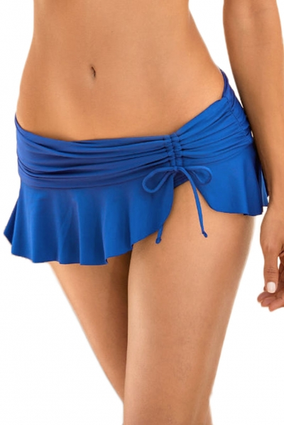 Royal Blue Side Tie Skirted Hipster Bikini Bottom