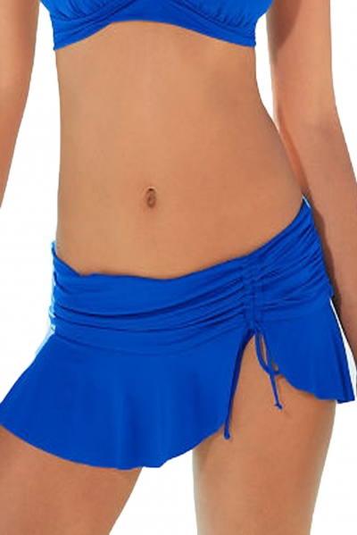 Royal Blue Side Tie Skirted Hipster Bikini Bottom zekela.com