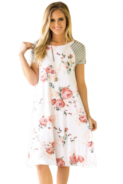 White Backdrop Floral Print A-line Loose T-shirt Dress