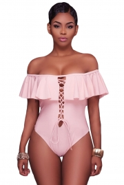 Pink Ruffle Off-The-Shoulder One Piece Swimsuit