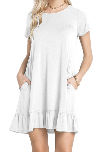 White Short Sleeve Draped Hemline Casual Shirt Dress