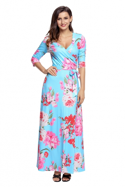 Cyan Floral Print Wrapped Long Boho Dress