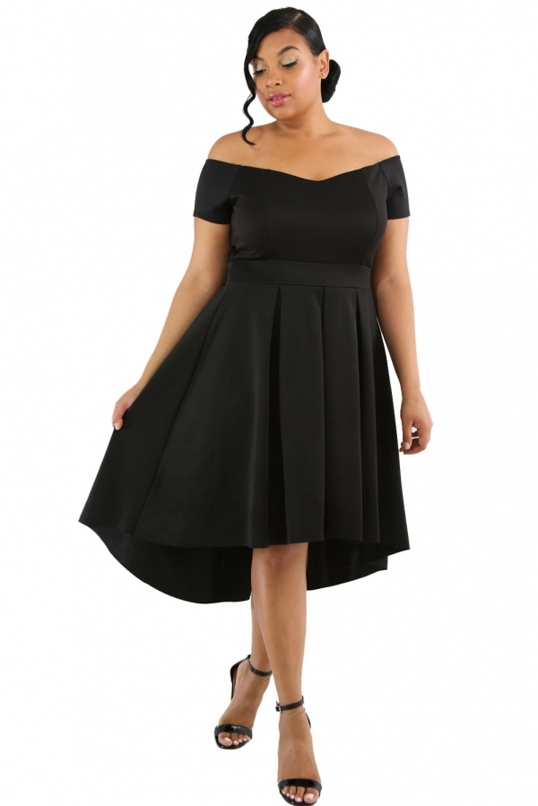 c466d791589 Black Plus Size Off Shoulder Swing Dress - ZEKELA.com