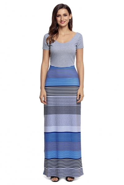 Gray Crisscross Back Muliticolor Maxi Dress