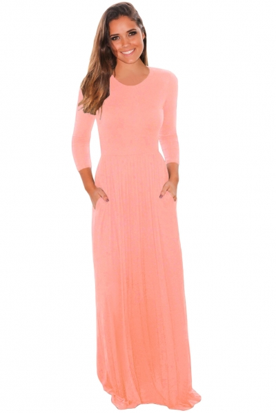 Pink Pocket Design 3/4 Sleeves Maxi Dress