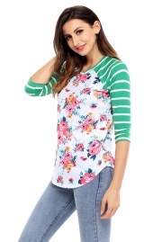 Green Striped Sleeves White Floral Top