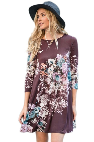 Plum Purple Floral Long Sleeve A-Line Tunic Dress