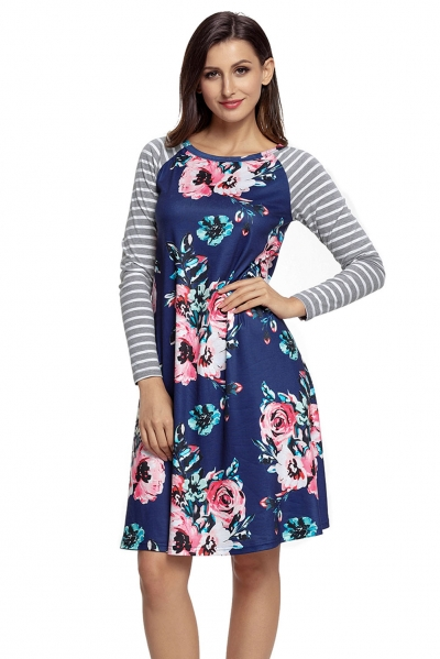 Dark Blue Floral Print Stripe Raglan Sleeve Dress