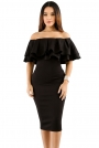black-layered-ruffle-off-shoulder-midi-dress