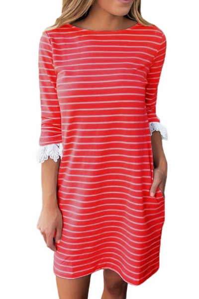 Red Striped Body Lace Cuffs Insert Casual Dress