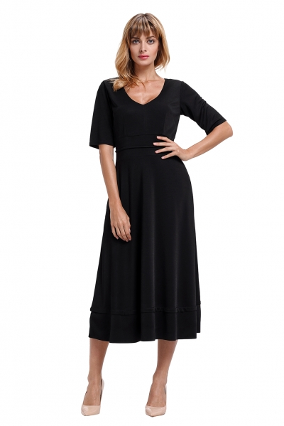 Black Half Sleeve V Neck High Waist Flared Dress zekela.com