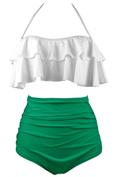 Solid White & Green Retro Boho Flounce High Waist Swimsuit
