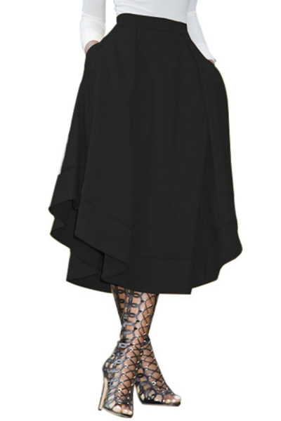 Black Making Waves High Waist Midi Skirt