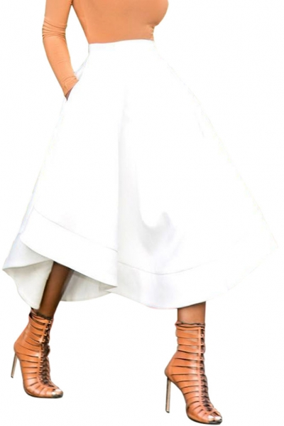 White Making Waves High Waist Midi Skirt
