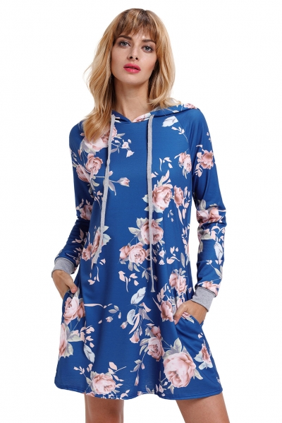 Slate Blue Floral Print Drawstring Hoodie Dress