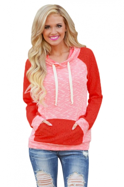 Coral Lace Accent Kangaroo Pocket Hoodie