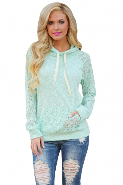 Light Green Lace Accent Kangaroo Pocket Hoodie ZEKELA.com