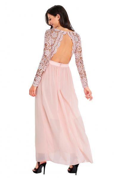 Pink Open Back Long Sleeve Crochet Maxi Party Dress zekela.com
