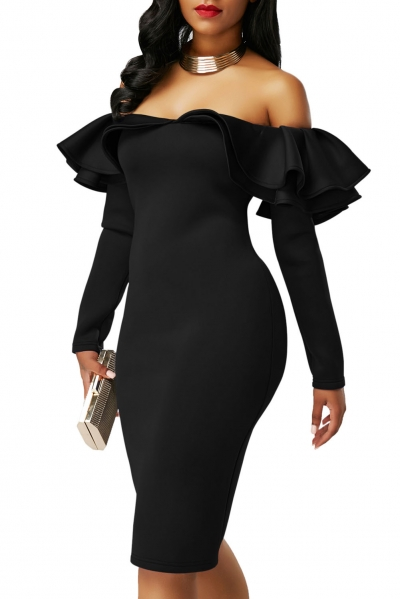Black Ruffle Off The Shoulder Long Sleeve Bodycon Dress Zekela