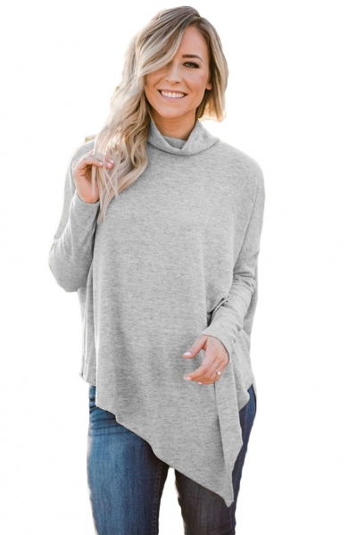 Gray Soft Faux Poncho High Neck Sweater