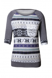 Grey Raglan Sleeve Lace Pocket Detail Printed Top