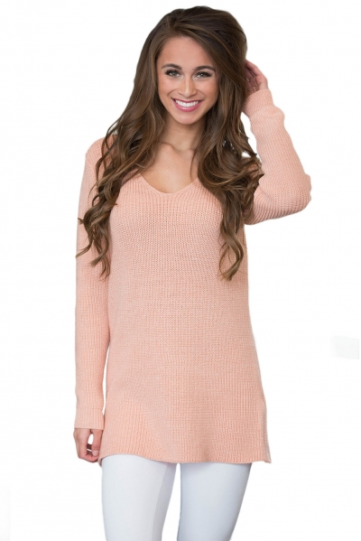 Pink Never Look Back Lace Up Sweater
