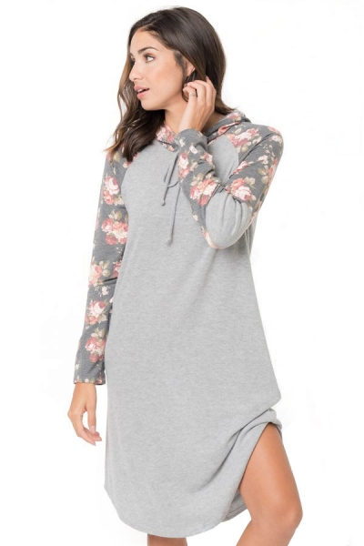 Gray Floral Sleeve Shift Hoodie Dress