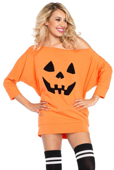 Halloween Pumpkin Mini Jersey Dress
