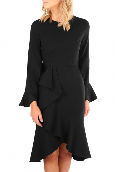 Black Delicate Ruffle Accent Bell Sleeve Midi Dress