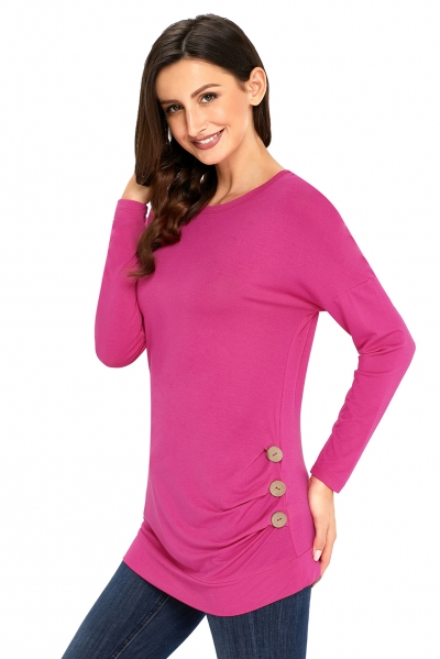 Rosy Buttoned Side Long Sleeve Spring Autumn Womens Top zekela.com