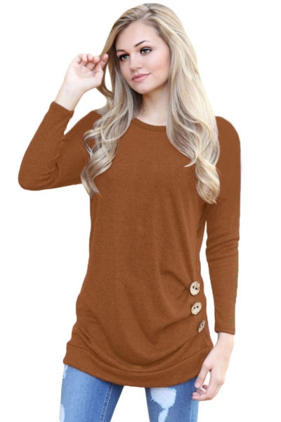 Maroon Buttoned Side Long Sleeve Spring Autumn Womens Top ZEKELA.com