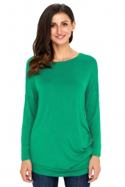 Green Buttoned Side Long Sleeve Spring Autumn Womens Top