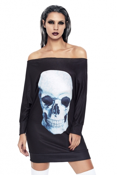 Gothic Skull Halloween Mini Jersey Dress