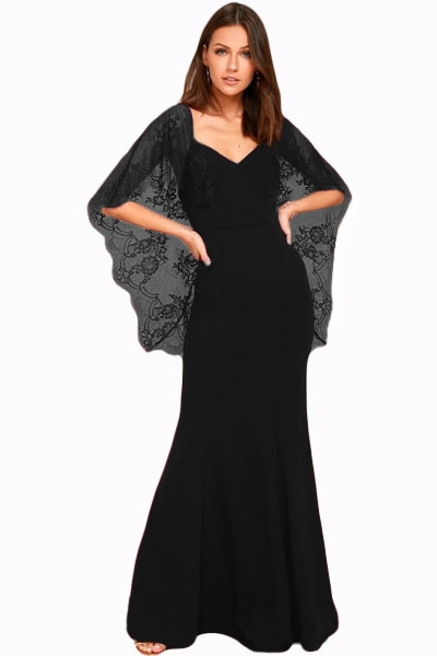 4bab3edc13 Black V Cut Open Back Lace Cape Sleeve Maxi Evening Dress ZEKELA.com. Loading  zoom